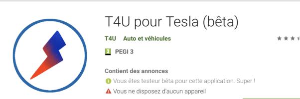 T4U pour Tesla sur Android !